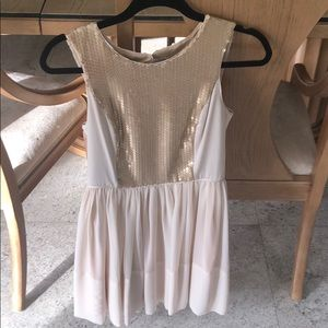 Vanilla/Gold color sequin mini dress